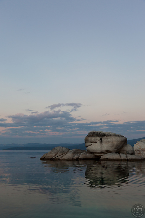 """""""Tahoe Boulders at Sunrise 2"""" - These boulders were photographed at sunrise near Speedboat Beach, Lake Tahoe."""