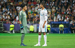 Keylor Navas and Casemiro of Real Madrid in action during the UEFA Champions League final football match between Liverpool and Real Madrid at the Olympic Stadium in Kiev, Ukraine on May 26, 2018.Photo by Sandi Fiser / Sportida