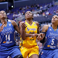 17 June 2014: Los Angeles Sparks forward Nneka Ogwumike (30) vies for the rebound with Minnesota Lynx forward Devereaux Peters (14) and Minnesota Lynx guard Tan White (5) during the Minnesota Lynx  94-77 victory over the Los Angeles Sparks, at the Staples Center, Los Angeles, California, USA.
