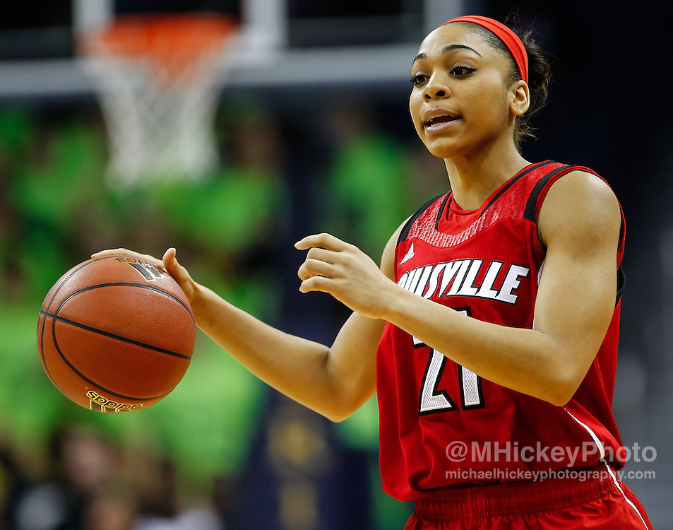SOUTH BEND, IN - FEBRUARY 11: Kayla McBride #21 of the Notre Dame Fighting Irish dribbles the ball up court during the game against the Notre Dame Fighting Irish at Purcel Pavilion on February 11, 2013 in South Bend, Indiana. Notre Dame defeated Louisville 93-64. (Photo by Michael Hickey/Getty Images) *** Local Caption *** Kayla McBride