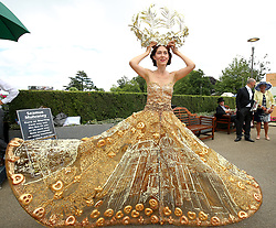 Larisa Katz wearing Art Couture during day two of Royal Ascot at Ascot Racecourse.