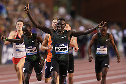 BRUSSELS, Sept. 1, 2018  Emmanuel Kipkurui Korir (Front) of Kenya celebrates after the men's 800m race at the IAAF Diamond League athletics meeting in Brussels, Belgium, Aug. 31, 2018. Emmanuel Kipkurui Korir claimed the title in a time of 1 minute and 44.72 seconds. (Credit Image: © Zheng Huansong/Xinhua via ZUMA Wire)