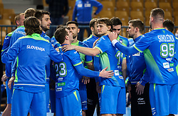Jure Dolenec of other players of Slovenia celebrate after winning during handball match between National Teams of Slovenia and Poland in Qualification Phase 2 of Men's EHF Euro 2022 Qualifiers, on March 9, 2021 in Arena Zlatorog, Celje, Slovenia. Photo by Vid Ponikvar / Sportida