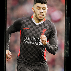 """LIVERPOOL, ENGLAND - Friday, September 11, 2020: A mock up of Liverpool's Alex Oxlade-Chamberlain wearing the new Nike third kit for the 2020/21 season. LFC say """"it's design is heavily influenced by the array of chequered flags and banners that decorate the Kop each home game during European competitions."""" (Credit: ©Liverpool FC)"""