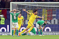 ROMANIA, Bucharest : Romania's Paul Papp celebrates after scoring his first goal during the Euro 2016 Group F qualifying football match Romania vs Northern Ireland in Bucharest, Romania on November 14, 2014.