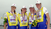 Poznan, POLAND.   2004 FISA World Cup, Malta Lake Course.  <br /> <br /> GBR W4X L to R. Alison MOWGRAU, Debbie FLOOD, Rebecca REMERO and Frances HOUGHTON. <br /> 09.05.2004<br /> <br /> [Mandatory Credit:Peter SPURRIER/Intersport Images]