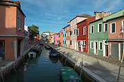 Canal view on Burano. Canals in Burano.Venice, Italy