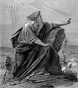 Moses, Old Testament prophet, having led his people out of captivity and through the wilderness, views the Promised Land on which he will never set foot. 'Bible' Deuteronomy 34. Wood engraving c1860
