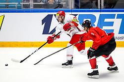 Sergei Maltavko of Belarus vs Dainius Zubrus of Lithuania during ice hockey match between Lithuania and Belarus at IIHF World Championship DIV. I Group A Kazakhstan 2019, on April 29, 2019 in Barys Arena, Nur-Sultan, Kazakhstan. Photo by Matic Klansek Velej / Sportida