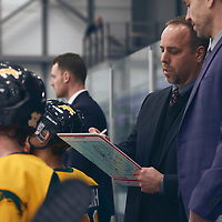 Men's Hockey Head Coach, Todd Johnson during the Men's Hockey Home Game on Sat Jan 19 at Co-operators Center. Credit: Arthur Ward/Arthur Images