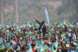 NYABIHU (RWANDA), July 4, 2017  Rwandan President Paul Kagame (C) greets Rwandan people during the celebration of Liberation Day in Nyabihu district, western Rwanda, on July 4, 2017. Rwanda on Tuesday marked the 23rd anniversary of the liberation struggle that saw the current government defeat the genocidal regime. (Credit Image: © Xinhua via ZUMA Wire)