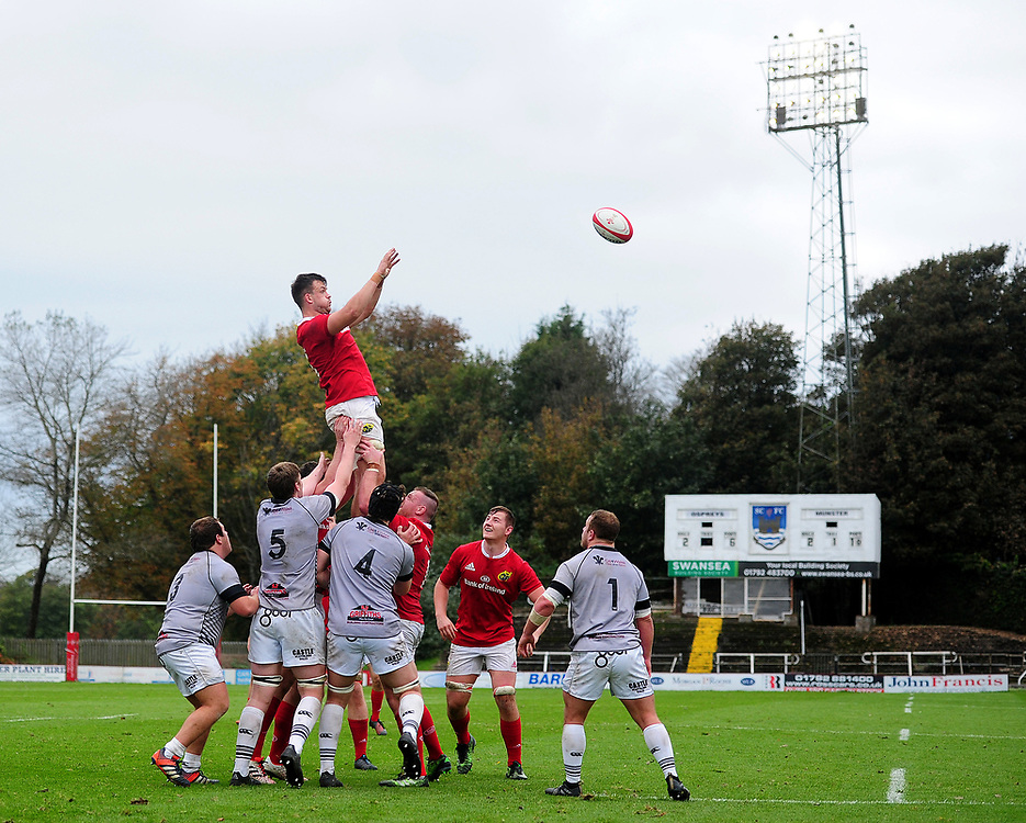 Munster A's Sean Mccarthy  in action during todays match<br /> <br /> Photographer Ashley Crowden/CameraSport<br /> <br /> The British & Irish Cup Pool 1 - Ospreys Premiership Select v Munster A - Saturday 14th October 2017 - St Helen's, Swansea<br /> <br /> World Copyright © 2017 CameraSport. All rights reserved. 43 Linden Ave. Countesthorpe. Leicester. England. LE8 5PG - Tel: +44 (0) 116 277 4147 - admin@camerasport.com - www.camerasport.com