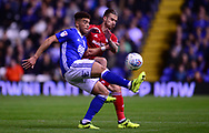 Che Adams of Birmingham city battles with Joe Bennett of Cardiff City  .EFL Skybet championship match, Birmingham city v Cardiff city at St.Andrew's stadium in Birmingham, the Midlands on Friday 13th October 2017.<br /> pic by Bradley Collyer, Andrew Orchard sports photography.