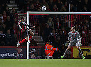 AFC Bournemouth striker Brett Pitman goes close during the Capital One Cup match between Bournemouth and Liverpool at the Goldsands Stadium, Bournemouth, England on 17 December 2014.