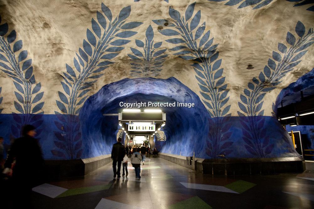 SWEDEN- STOKHOLM - 26/09/2006 : Subway station decorated by artists   .///.metro decore par des artistes