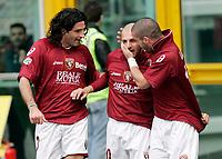 """L'esultanza di Alessandro Rosina (Torino) dopo il gol dell'1-0 con Nikola Lazetic (Torino) e Iacopo Balestri (Torino)<br /> Alessandro Rosina (Torino) celebrates after scoring first goal with teammates Nikola Lazetic (Torino) and Nikola Lazetic (Torino)<br /> Italian """"Serie A"""" 2006-07<br /> 11 Mar 2007 (Match Day 28)<br /> Torino-Catania (1-0)<br /> """"Olimpico""""-Stadium-Torino-Italy<br /> Photographer: Luca Pagliaricci INSIDE"""