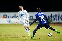 Fotball, Tippeligaen , Eliteserien , Menn<br /> 20. Mars 2016  , 20160320<br /> Stabæk - Molde<br /> Eidur Smari Gudjohnsen - Molde<br /> Kamal Issah - Stabæk<br /> Foto: Sjur Stølen / Digitalsport