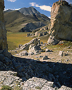 Arctic National Wildlife Refuge and Mt Weller, limestone towers. The Sadlerochit Mountains are the northernmost mountains of the Brooks Range.