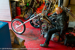 Plebs MC member Tomas Faleroth ready to ride out from the clubhouse near Stockholm, Sweden. Friday, May 31, 2019. Photography ©2019 Michael Lichter.