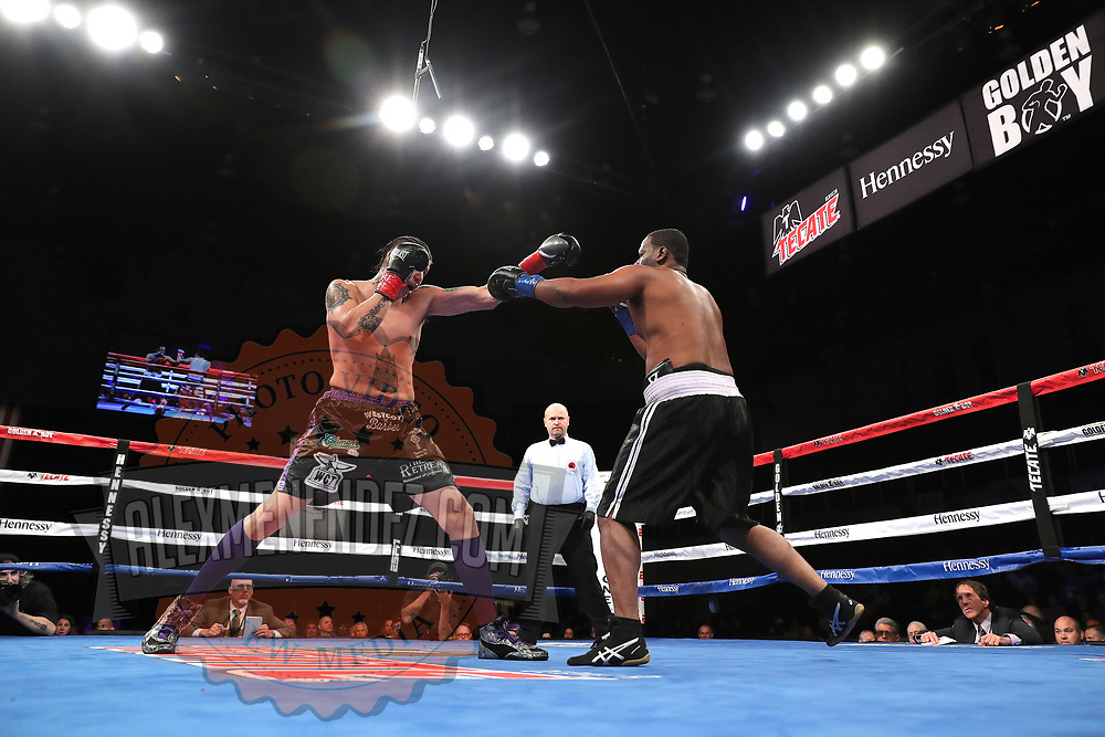 VERONA, NY - JUNE 08: Lawrence Gabriel (L) and Jimmy Levins exchange punches during the Golden Boy on ESPN fight night at Turning Stone Resort Casino on June 8, 2018 in Verona, New York. (Photo by Alex Menendez/Getty Images) *** Local Caption *** Lawrence Gabriel; Jimmy Levins
