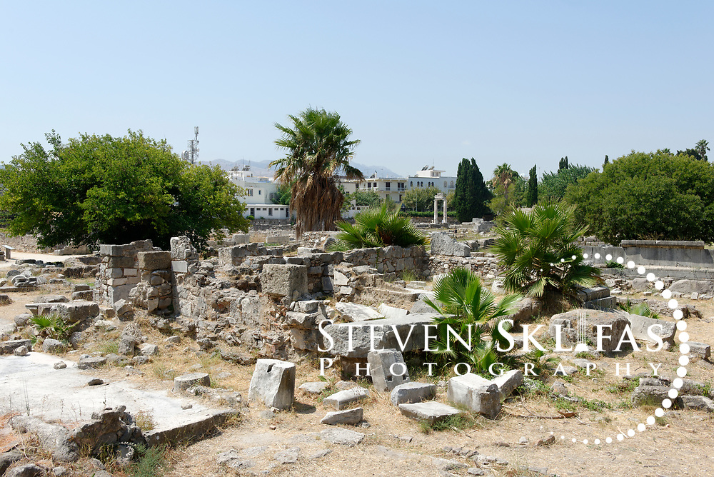 Kos Town. Sanctuary of Hercules ruins from the Agora in the eastern Archeological zone. The Agora was one of the largest in the ancient world. Kos is part of the Dodecanese island group and birthplace of the ancient physician and father of medicine, Hippocrates.