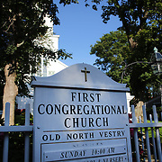 The First Congregation Church in Nantucket Town Center, Nantucket Island, Massachusetts, USA. Photo Tim Clayton