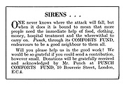 Punch Comforts Fund ad: Sirens. One never knows where the attack will fall...
