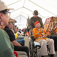 Navajo Code Talker John Vandever speaks during Navajo Code Talkers Day at the Navajo Nation Veterans Memorial Park, Wednesday, August 14, in Window Rock.