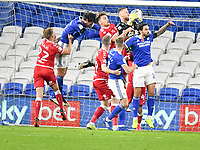 Football -  2020 / 2021 Sky Bet Championship - Cardiff City vs Bristol City - Cardiff City Stadium<br /> <br /> Daniel Bentley Bristol City foils a aCardiff attack <br /> in a match played without fans<br /> <br /> COLORSPORT