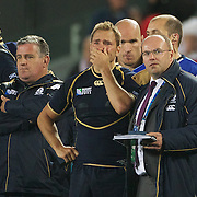 Dan Parks, Scotland, (centre) in tears after his sides defeat during the England V Scotland Pool B match during the IRB Rugby World Cup tournament. Eden Park, Auckland, New Zealand, 1st October 2011. Photo Tim Clayton...