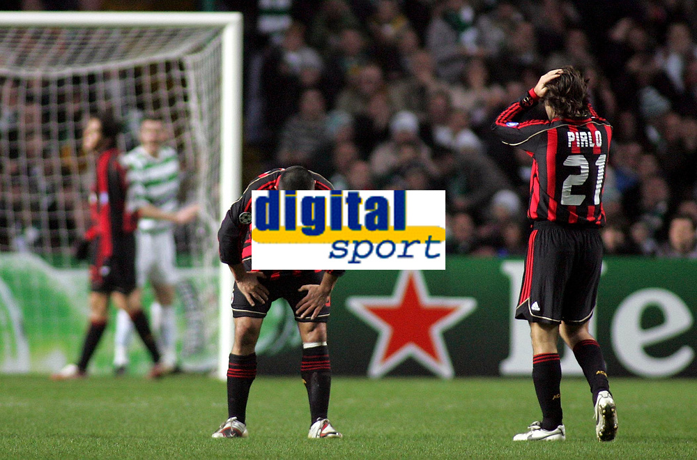 Photo: Paul Thomas.<br /> Glasgow Celtic v AC Milan. UEFA Champions League. Last 16, 1st Leg. 20/02/2007.<br /> <br /> Frustrated Gennaro Guttuso (C) and Andrea Pirlo (R) of Milan, as they can't believe Kaka doesn't score.