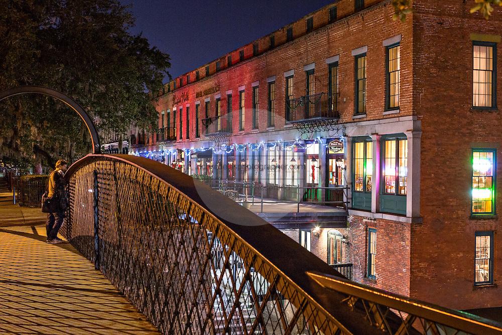 Christmas lights decorate the Riverfront in historic Savannah, GA.