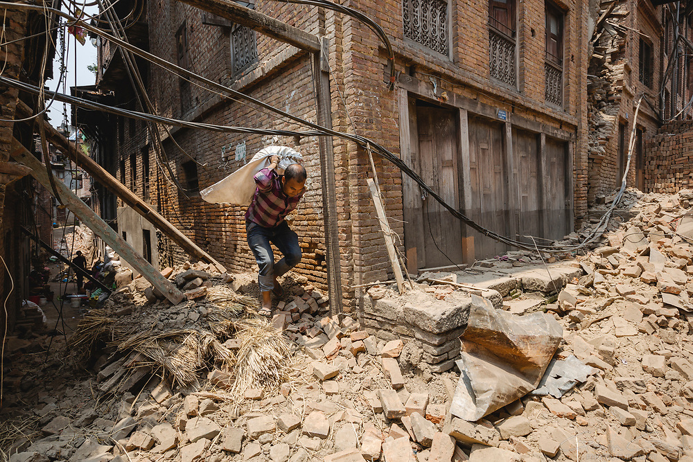 Rajiv Awal and his family salvaged what they could from their family home after it was destroyed by the 2015 Nepal earthquake. They relocated to the home of a family member, outside the capital city of Kathmandu.