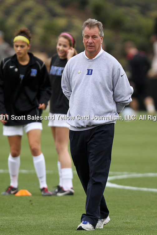 04 December 2011: Duke head coach Robbie Church. The Stanford University Cardinal defeated the Duke University Blue Devils 1-0 at KSU Soccer Stadium in Kennesaw, Georgia in the NCAA Division I Women's Soccer College Cup Final.