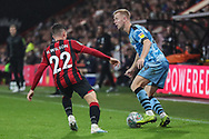 Forest Green Rovers Nathan McGinley(19) takes on Bournemouth's Harry Wilson(22) during the EFL Cup match between Bournemouth and Forest Green Rovers at the Vitality Stadium, Bournemouth, England on 28 August 2019.