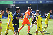 Burton Albion manager Nigel Clough spurs on his players during the EFL Sky Bet League 1 match between Southend United and Burton Albion at Roots Hall, Southend, England on 22 April 2019.