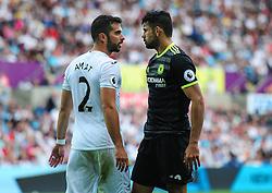 Jordi Amat of Swansea City squares up to Diego Costa of Chelsea - Mandatory byline: Alex James/JMP - 07966386802 - 11/09/2016 - FOOTBALL - Barclays premier league -swansea,Wales - Swansea v Chelsea  -