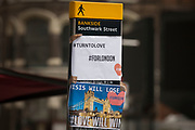 In the aftermath of the London Bridge and Borough Market terrorist attack the previous night, the hashtags #turntolove and #forlondon appears a half a mile from the crime scene where 7 people were killed and many others injured (Sunday's total). On Sunday 4th June 2017, in the south London borough of Southwark, England. (Photo by Richard Baker / In Pictures via Getty Images)