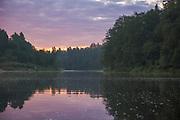 Calm morning light over River Gauja covered with tiny foam peaces from near rapids,  Gauja National Park (Gaujas Nacionālais parks), Latvia Ⓒ Davis Ulands | davisulands.com