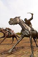 Bronze horse racing sculpture by Gwen Reardon, Thoroughbred Park, Lexington, Kentucky USA