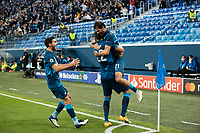 SAINT PETERSBURG, RUSSIA - NOVEMBER 04: Aleksandr Yerokhin celebrates his goal for Zenit St Petersburg during the UEFA Champions League Group F stage match between Zenit St. Petersburg and SS Lazio at Gazprom Arena on November 4, 2020 in Saint Petersburg, Russia. (Photo by MB Media)