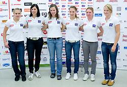 Slovenian Women National Ski team (From L: Nina Katarina Mihovilovic, Katja Jazbec, Vanja Brodnik, Mateja Robnik, Marusa Ferk and Ana Drev) at press conference before new alpine ski season 2009/2010,  on October 19, 2009, in BTC, Ljubljana, Slovenia.   (Photo by Vid Ponikvar / Sportida)