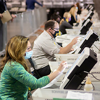 The processing of ballots continue into the evening at the Allengheny County vote processing warehouse on the northside of Pittsburgh on Friday November 6, 2020.  Photo by Archie Carpenter/UPI