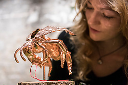 """© Licensed to London News Pictures. 24/05/2018. LONDON, UK. London, UK.  24 May 2018. An assistant views a copper plated sculpture of a bumble bee at the preview of """"Missing"""" an exhibition by artist and environmentalist Louis Masai at the Crypt Gallery in Euston.  The exhibition features sculptures, installations and paintings depicting 20 endangered species across the world from the South African penguin to the humble bumble bee.  The show runs 25 to 27 May 2018. Photo credit: Stephen Chung/LNP"""