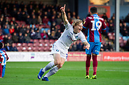 NO GOAL Wycombe Wanderers forward Alex Samuel (25) celebrates a goal but it is later decided no goal during the EFL Sky Bet League 1 match between Scunthorpe United and Wycombe Wanderers at Glanford Park, Scunthorpe, England on 29 December 2018.