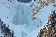 Lower Yellowstone Falls in winter in Yellowstone National Park