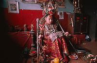 Nepal, Vallée de Kathmandu, Ville de Patan, Kumari - Déesse vivante. // Nepal, Kathmandu valley, City of Patan, the Kumari goddess.
