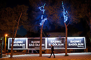 """Billboards adverts have been replaced with posters saying """"My Condolences"""" in the town on Soma, western Turkey. An explosion caused by an electrical fault in Somas' coal mine resulted in at least 282 deaths. Rescue efforts continue into the third evening."""