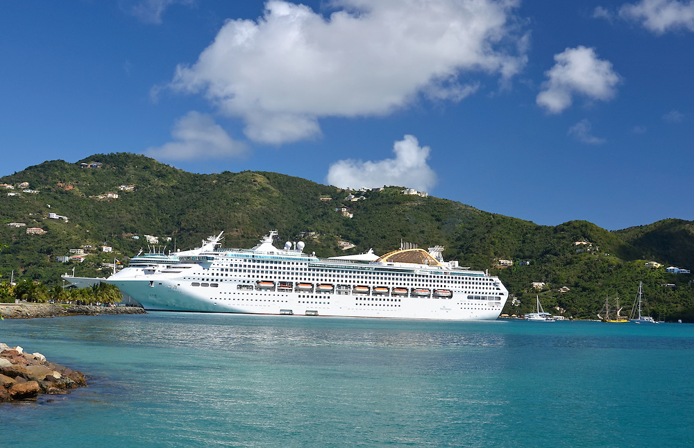 Cruise ship at the dock in Road Town, Tortola, British Virgin Islands.