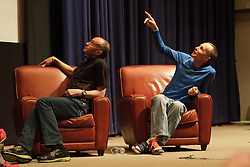 """Alberto Salazar interviewed by David Willey, joined by John Brant, author, and Dick Beardsley, runner, promoting book """"14 Minutes"""" during 2012 BAA Boston Marathon weekend"""